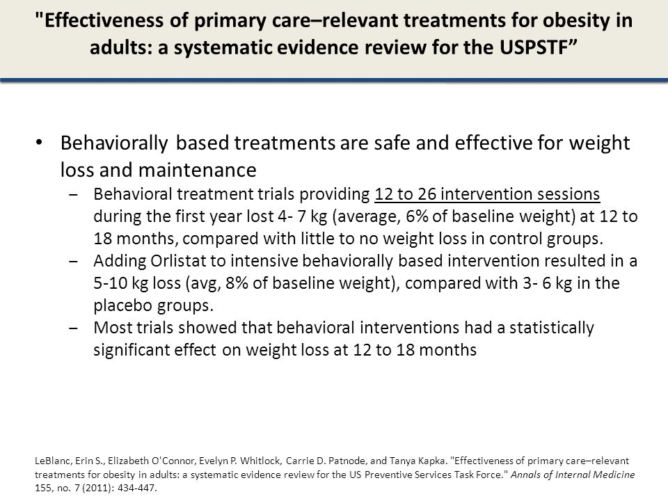 Effectiveness of primary care–relevant treatments for obesity in adults: a systematic evidence review for the USPSTF