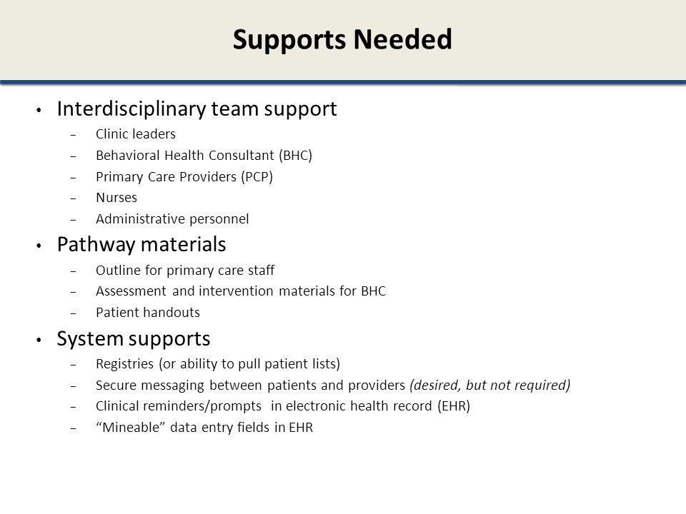 Supports Needed Interdisciplinary team support Pathway materials