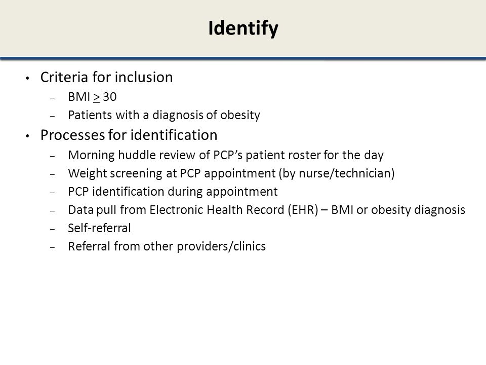 Identify Criteria for inclusion Processes for identification