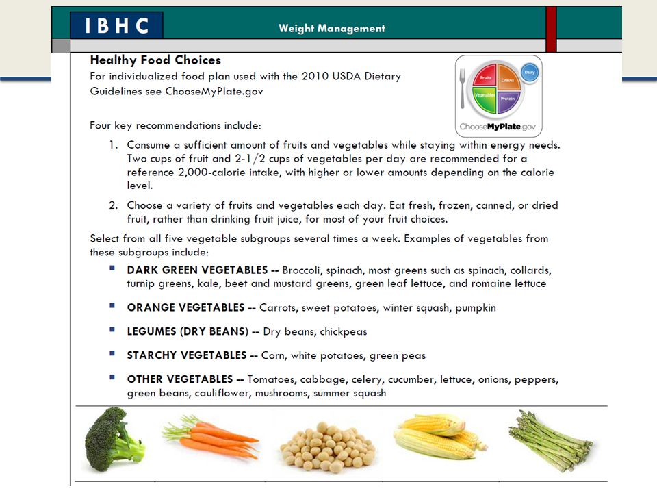 This is from an obesity clinical pathway handout on healthy food choices