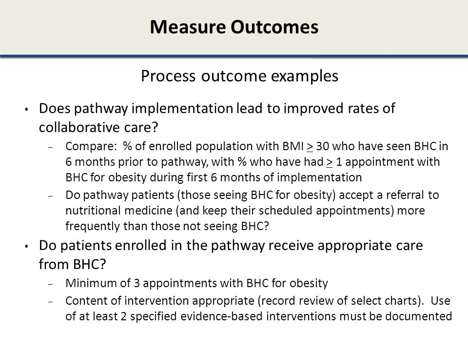 Process outcome examples