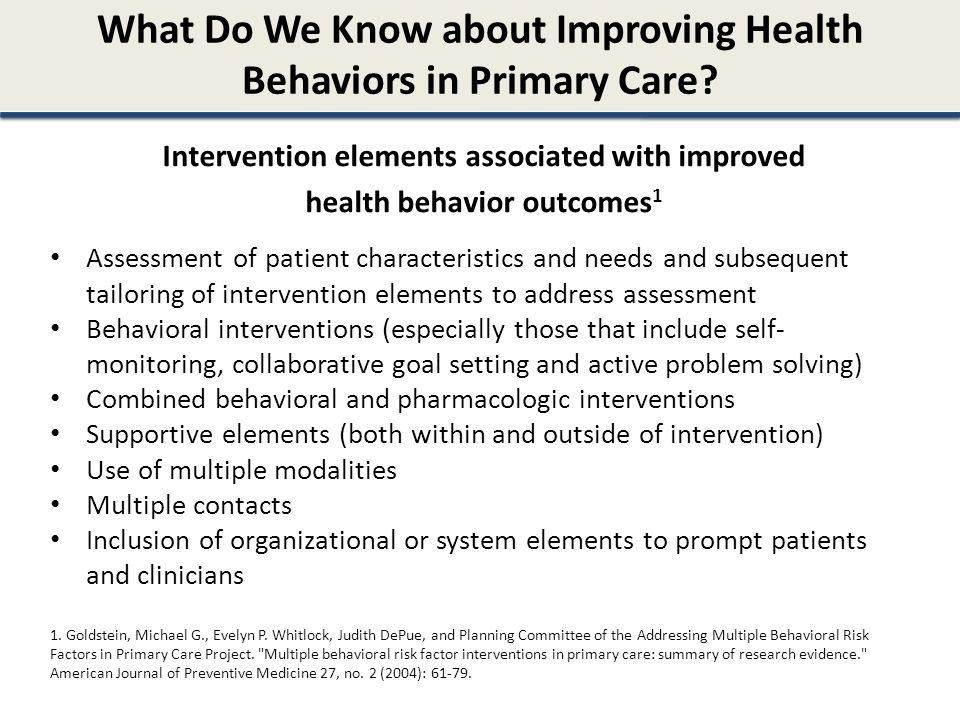 What Do We Know about Improving Health Behaviors in Primary Care