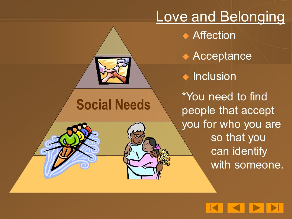 Love and Belonging Social Needs Affection Acceptance Inclusion