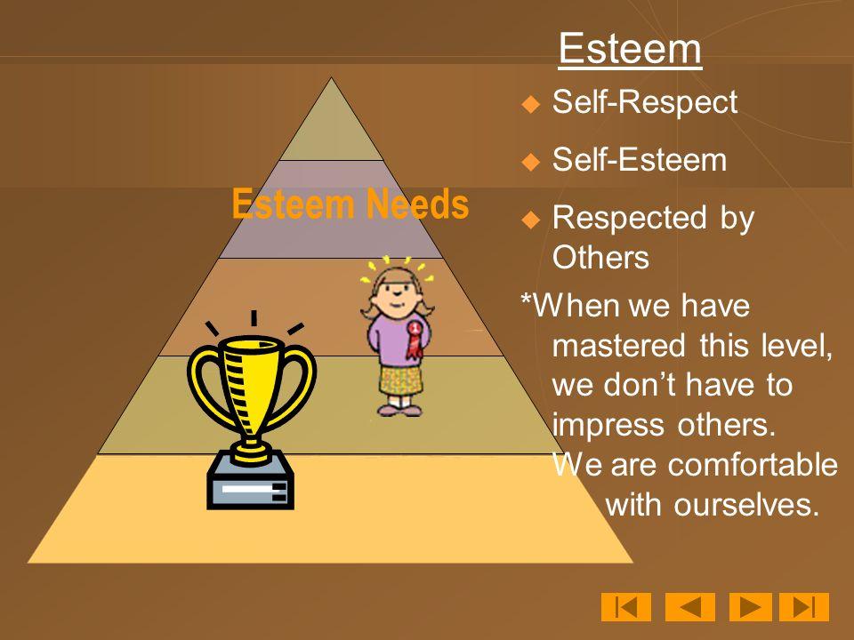 Esteem Esteem Needs Self-Respect Self-Esteem Respected by Others