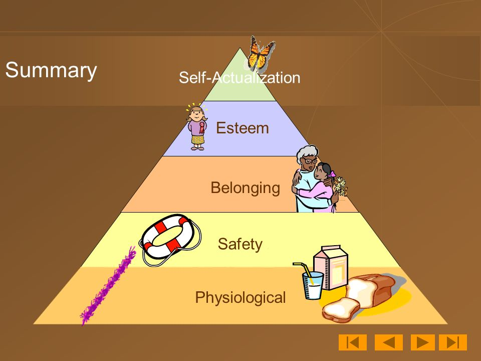 Self-Actualization Summary Esteem Belonging Physiological Safety