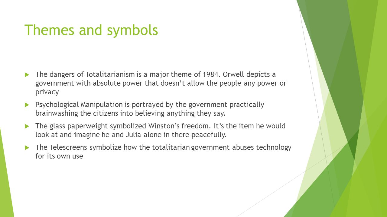 symbolism in 1984 These symbols are important to a deeper understanding of the book and its purpose the language in 1984 is symbolic of the party's manipulation of its members the development of newspeak, although seeming to improve the civilization, depletes thought, creativity, and individualism in its speakers.