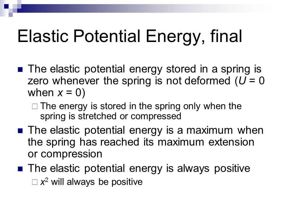 As A Spring Is Stretched Its Elastic Potential Energy Energy Etfs