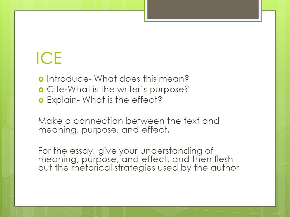 the analysis essay ppt ice introduce what does this mean cite what is the writer s purpose