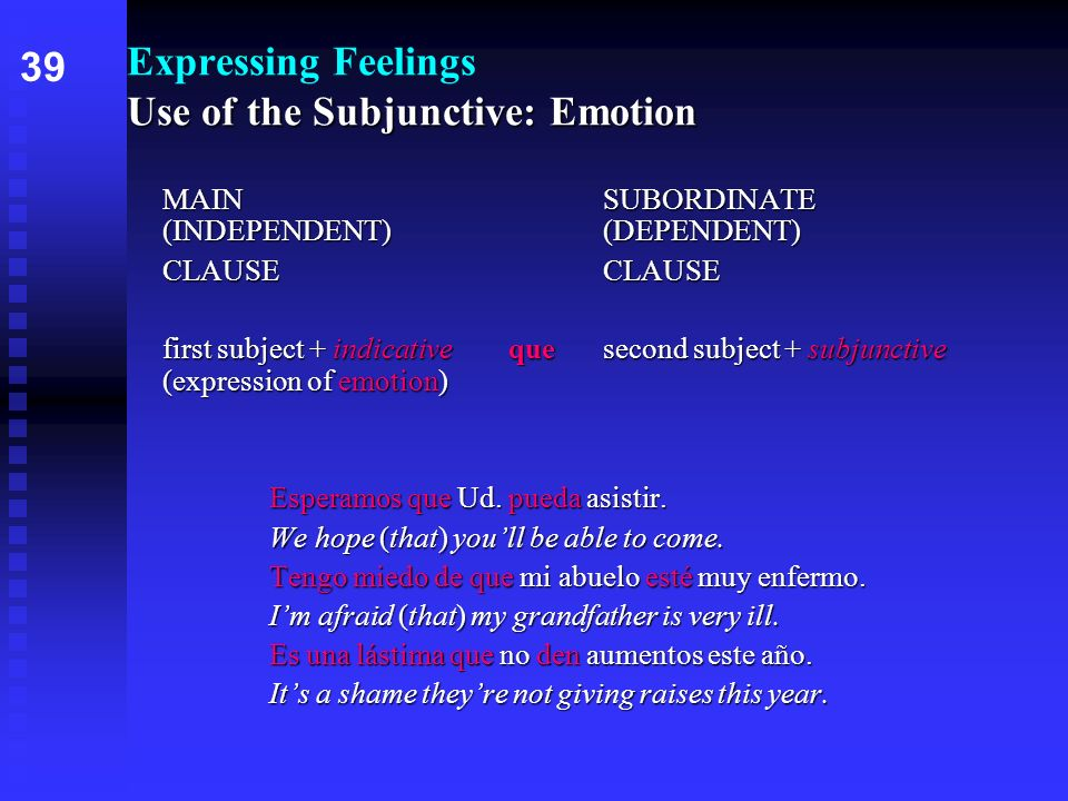 Expressing Feelings Use of the Subjunctive: Emotion