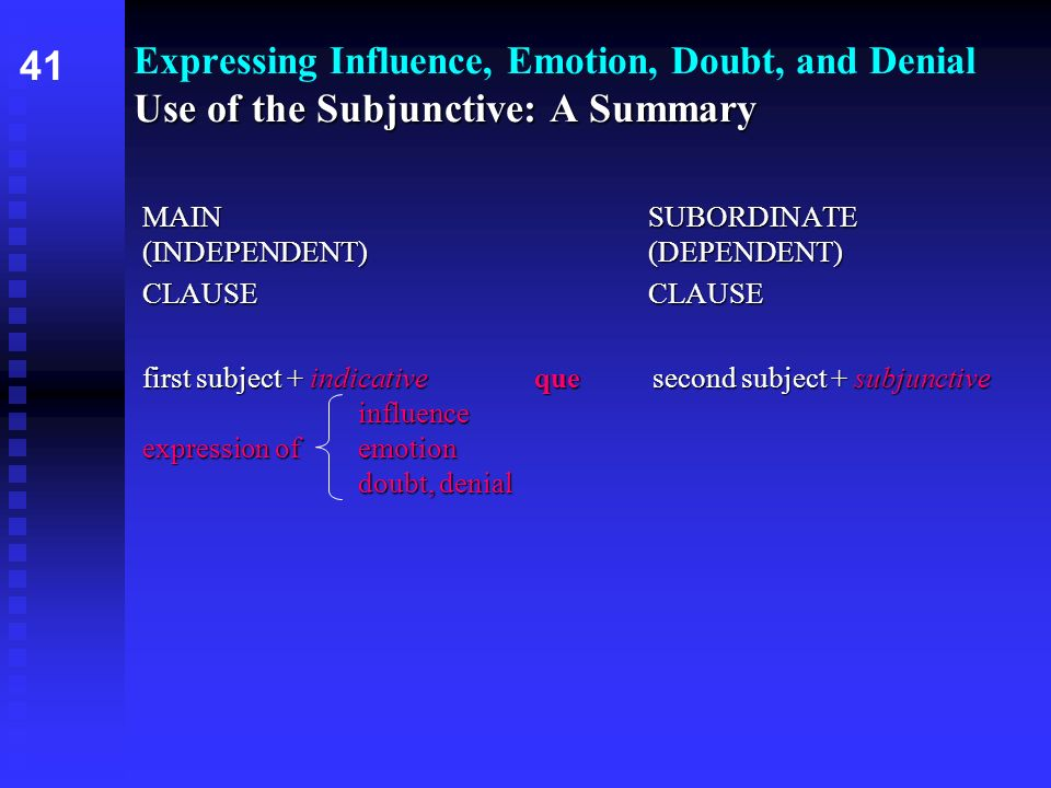 Expressing Influence, Emotion, Doubt, and Denial Use of the Subjunctive: A Summary