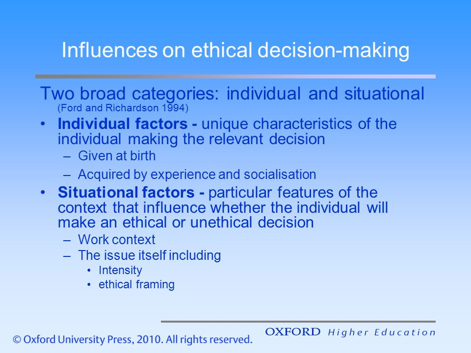 factors that influence the decision of .