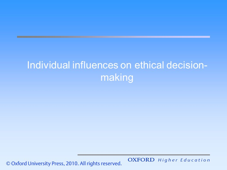 Individual ethical decision making analysis