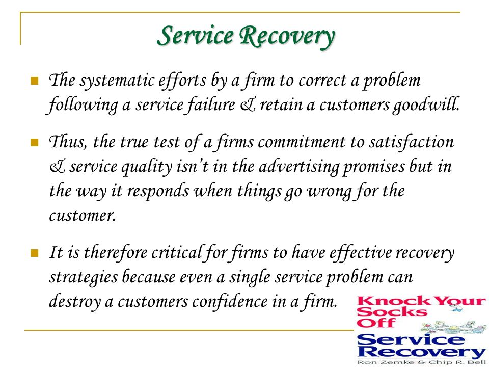 service failure and recovery essay Service recovery strategies identify had a service failure resolved quickly and properly are more loyal to a company than are customers who have never had a.
