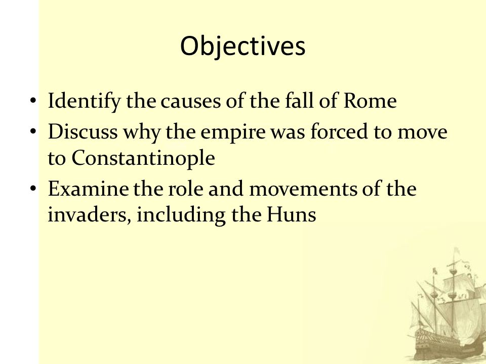 Aspects Leading to the Fall of the Roman Empire
