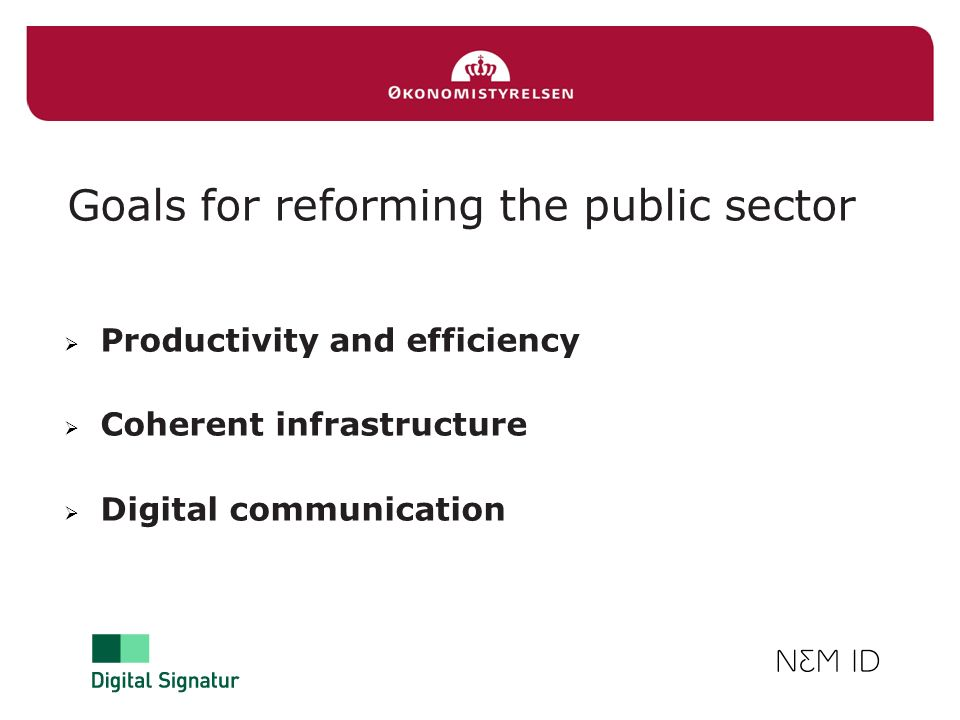 Goals for reforming the public sector