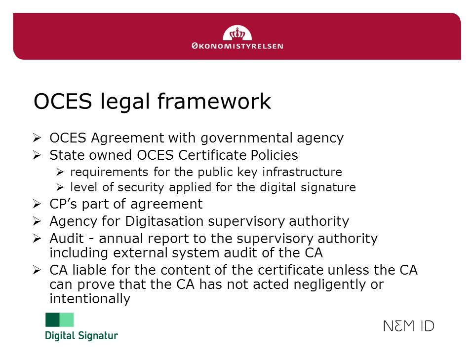 OCES legal framework OCES Agreement with governmental agency
