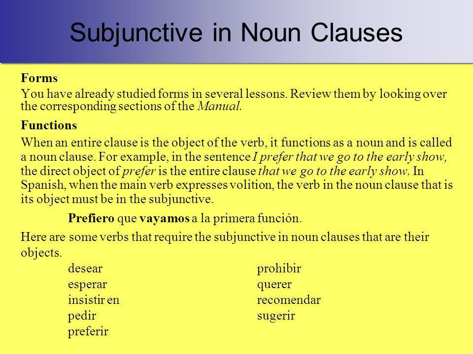 Subjunctive in Noun Clauses