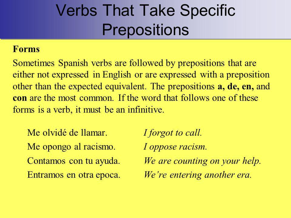 Verbs That Take Specific Prepositions