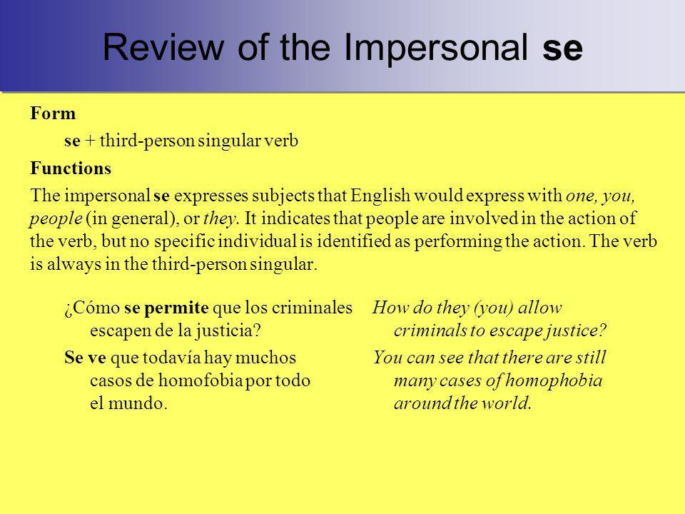 Review of the Impersonal se