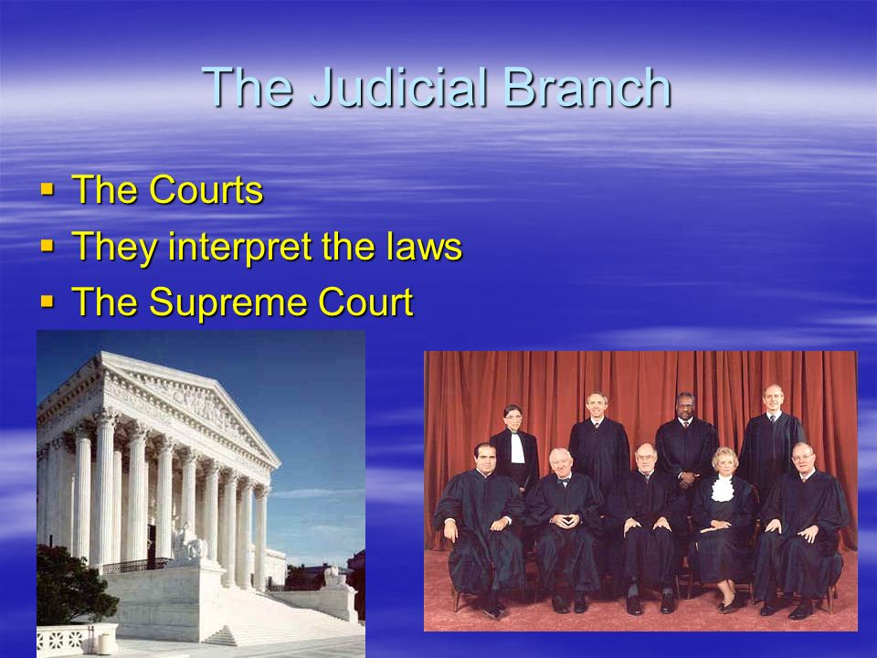 The Judicial Branch The Courts They interpret the laws