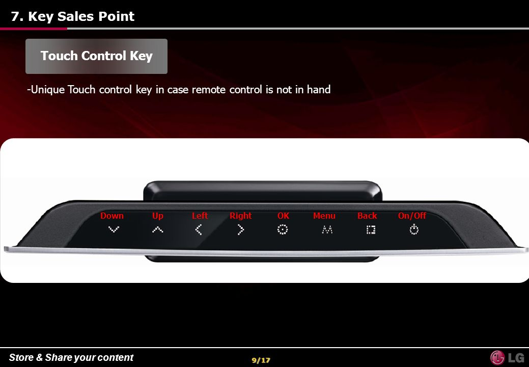 7. Key Sales Point Touch Control Key