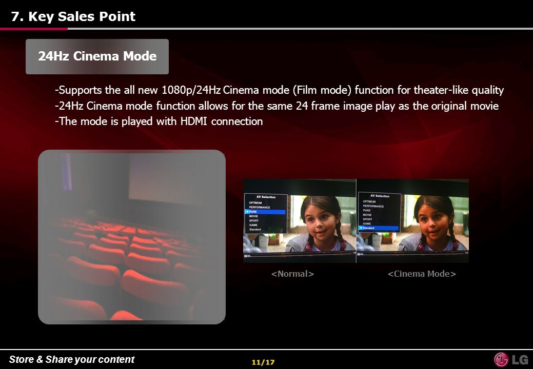 7. Key Sales Point 24Hz Cinema Mode
