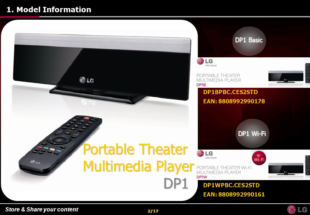 Portable Theater Multimedia Player DP1 1. Model Information DP1 Basic