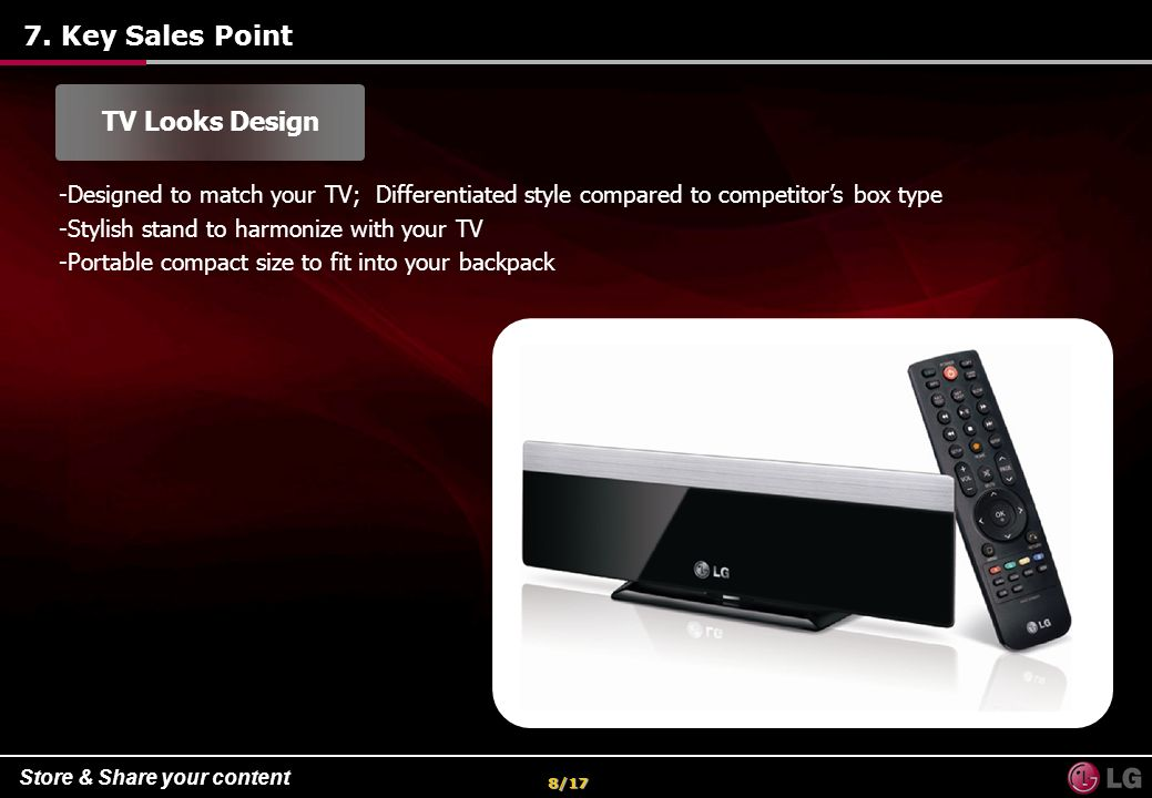7. Key Sales Point TV Looks Design