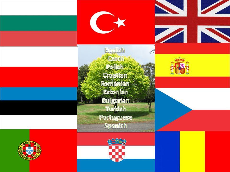 English Czech Polish Croatian Romanian Estonian Bulgarian Turkish Portuguese Spanish