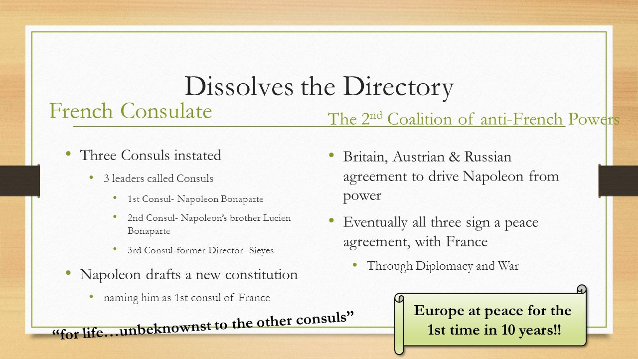 The rise fall of napoleon ppt video online download 5 dissolves the directory robcynllc Image collections