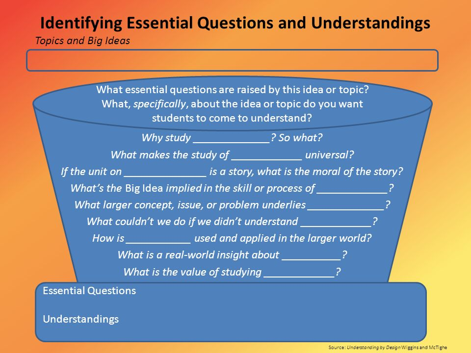 Identifying Essential Questions and Understandings