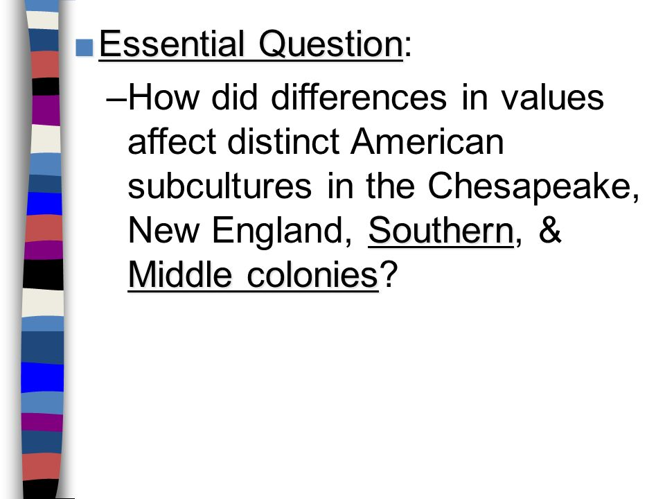 a comparison of the development of new england southern and middle colonies Distinguish between new england, middle, and southern colonies by coloring  and  given a graphic organizer students will compare the impact of geography  on the economies of  what factors led to the development of the three regions.