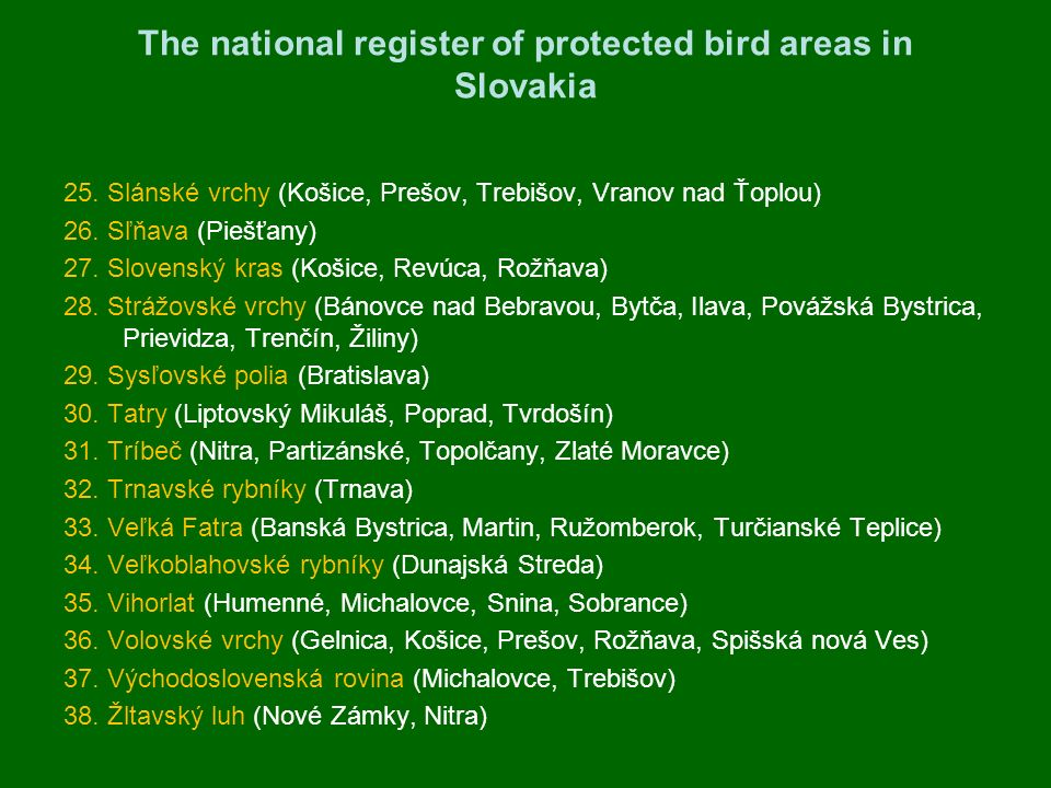 The national register of protected bird areas in Slovakia