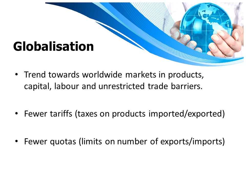 barriers of globalisation Globalization is a process of interaction and integration among the people, companies, and governments of different nations, a process driven by international trade and investment and aided by information technology.