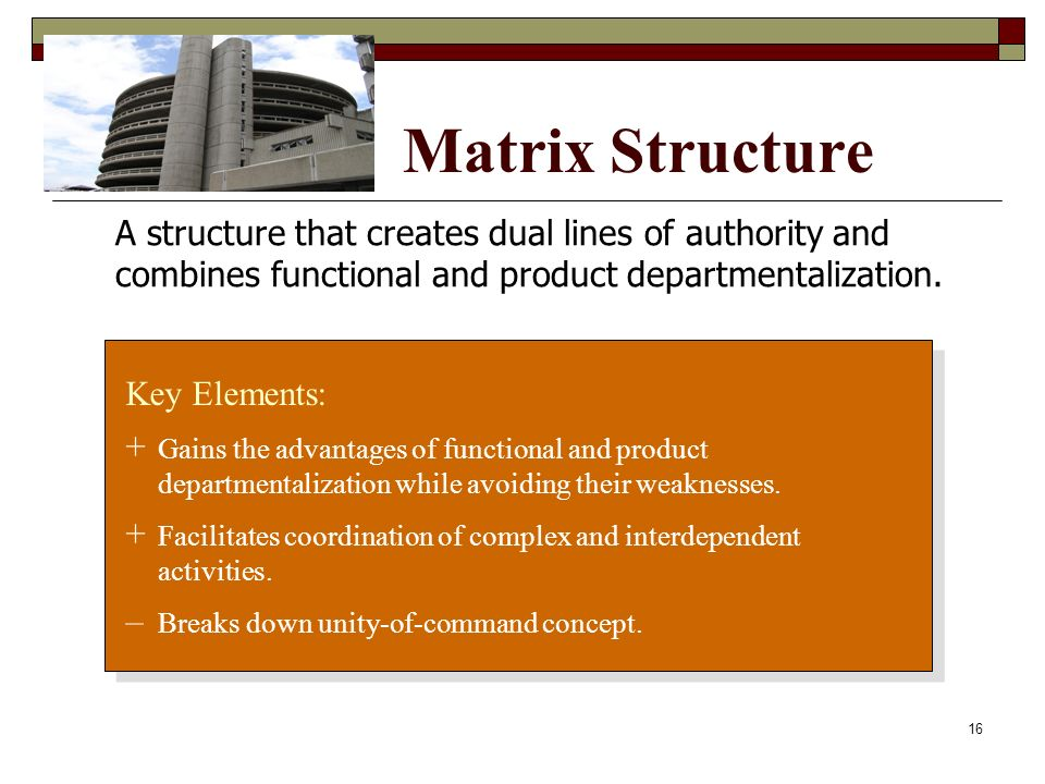 Matrix Structure A structure that creates dual lines of authority and combines functional and product departmentalization.