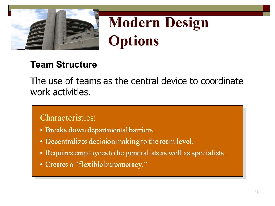 Modern Design Options Team Structure