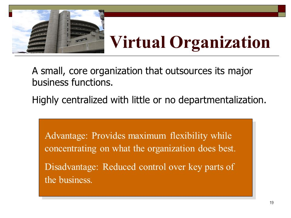 Virtual Organization A small, core organization that outsources its major business functions.