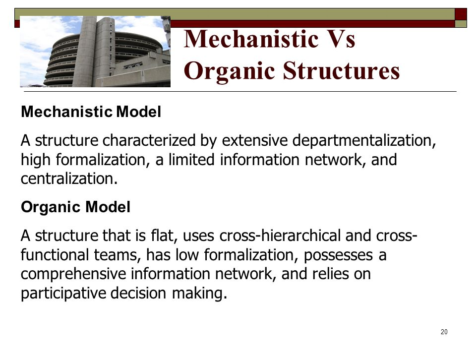 Mechanistic Vs Organic Structures