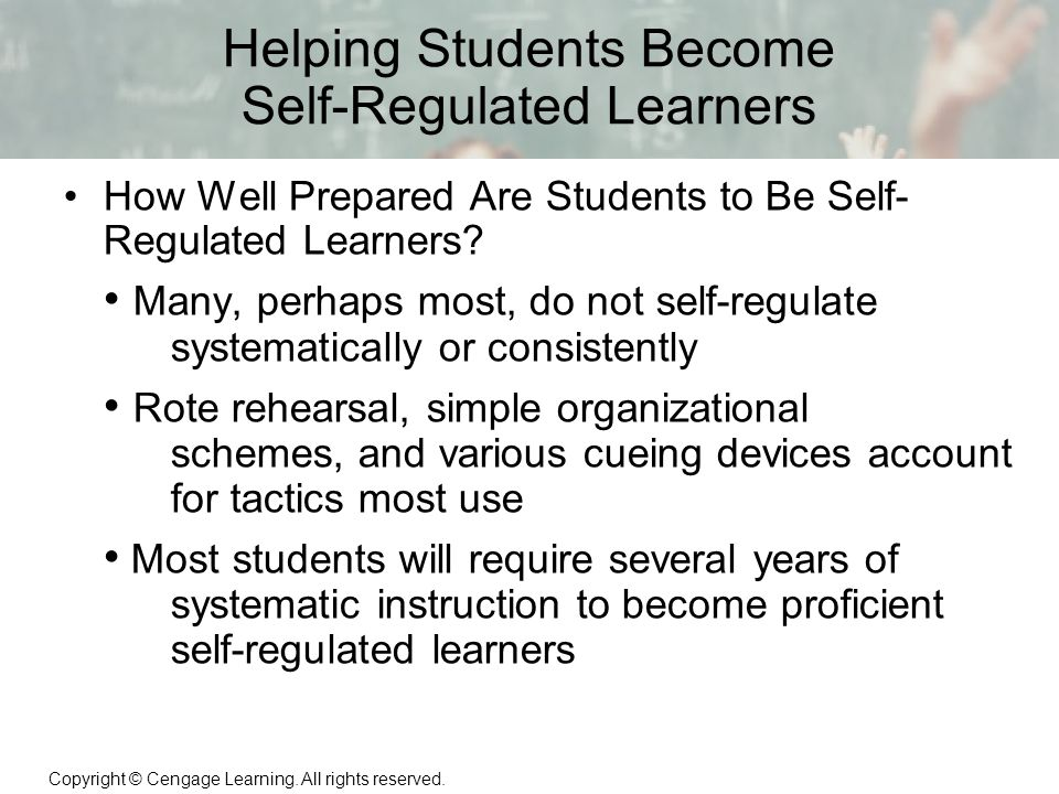 becoming a self regulated learner essay Self regulated learning essay self-regulated learning has three different dimensions which are: because self-directed means being single-minded.