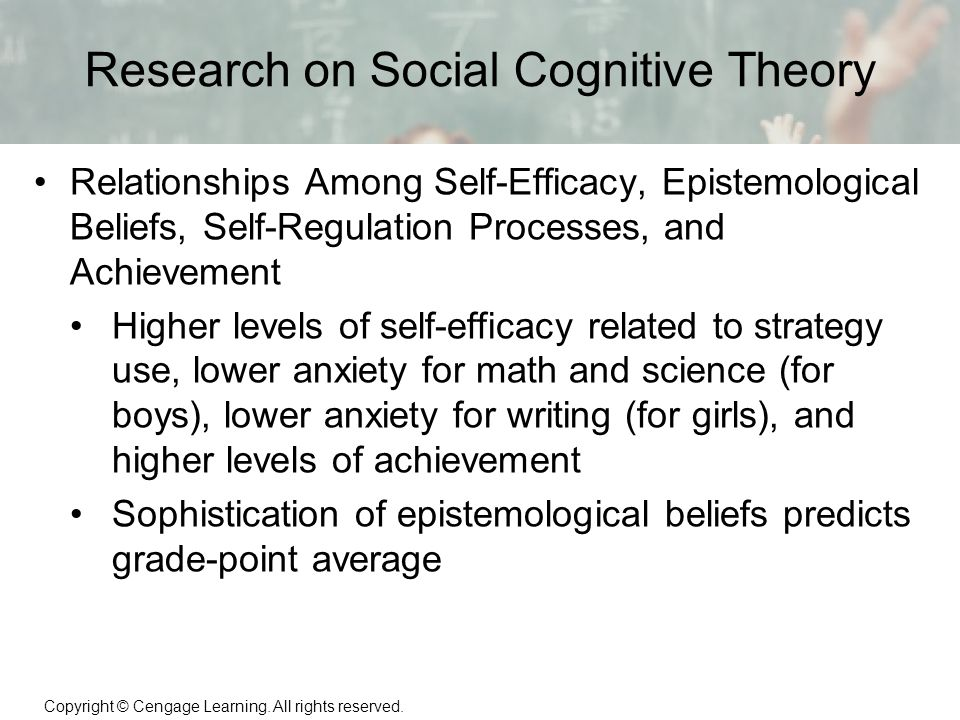 social cognitive theory on self regulation Social cognitive theory with particular emphasis on the role of modeling, self- effi cacy , and self-regulated learning specifi cally, we discussed zimmerman' s four.
