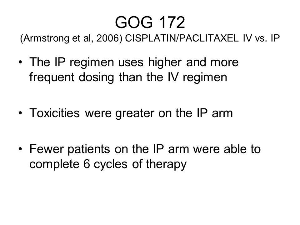 GOG 172 (Armstrong et al, 2006) CISPLATIN/PACLITAXEL IV vs. IP
