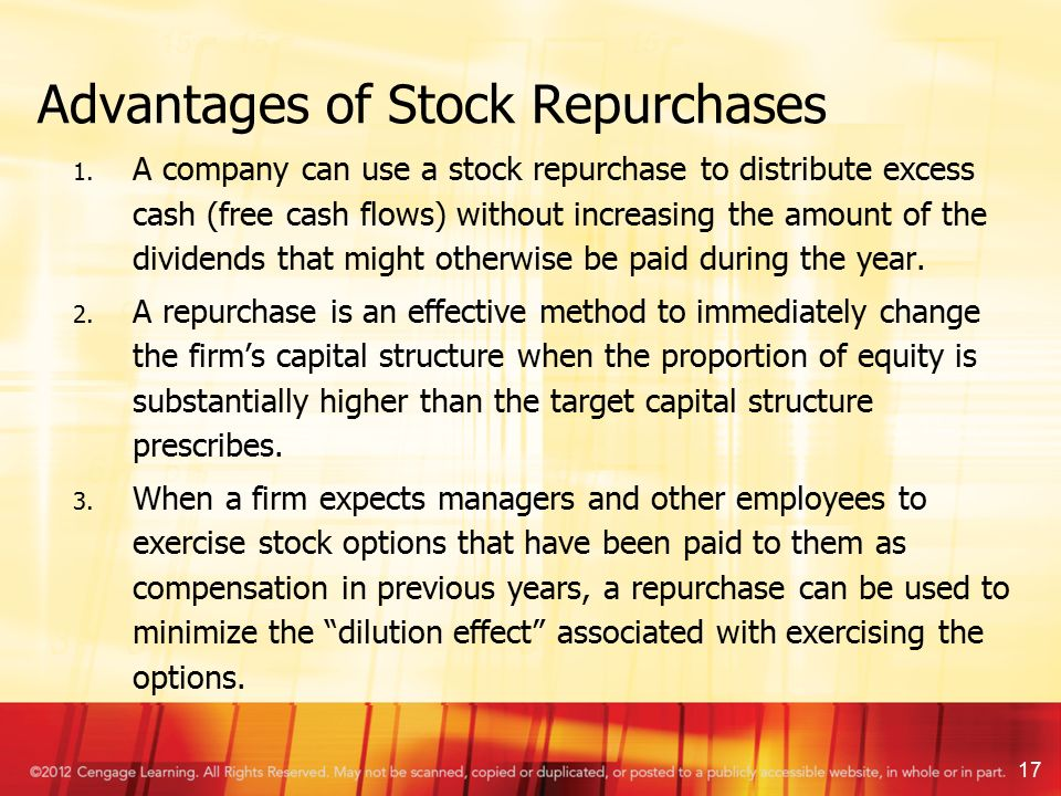 Stock options repurchase