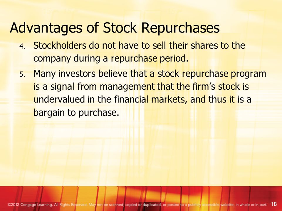 common stock repurchase and market signalling Chapter 17: dividends the stock price is reduced when the stock splits the common explanation for split is to return price to a stock repurchase signals 1.