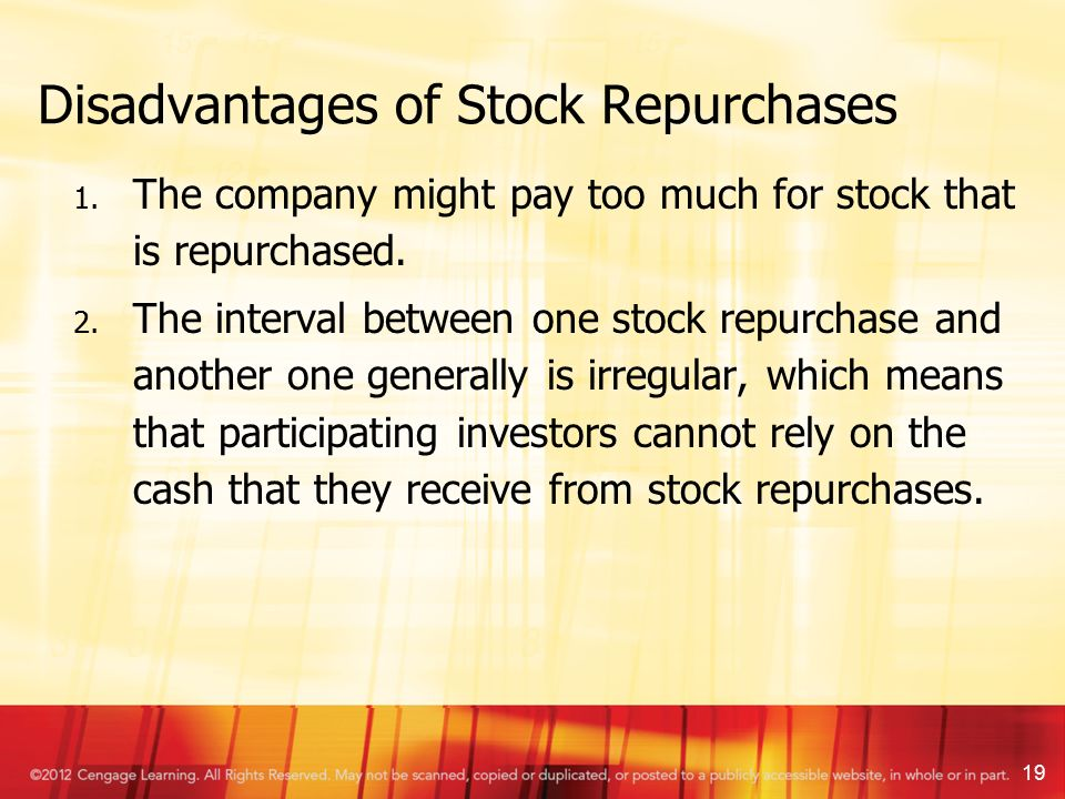 dividend policy and stock repurchases Stock repurchases, stock splits, and dividends, o my what are the differences  between these actions and what signals do they typically send to.