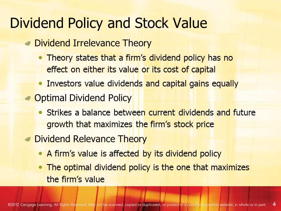 dividend relevance theory Dividend policy theories explain the rea soning andarguments that relate to paying dividends by firms dividendtheories include the dividend irrelevance theory that indicatesthere is no effect.