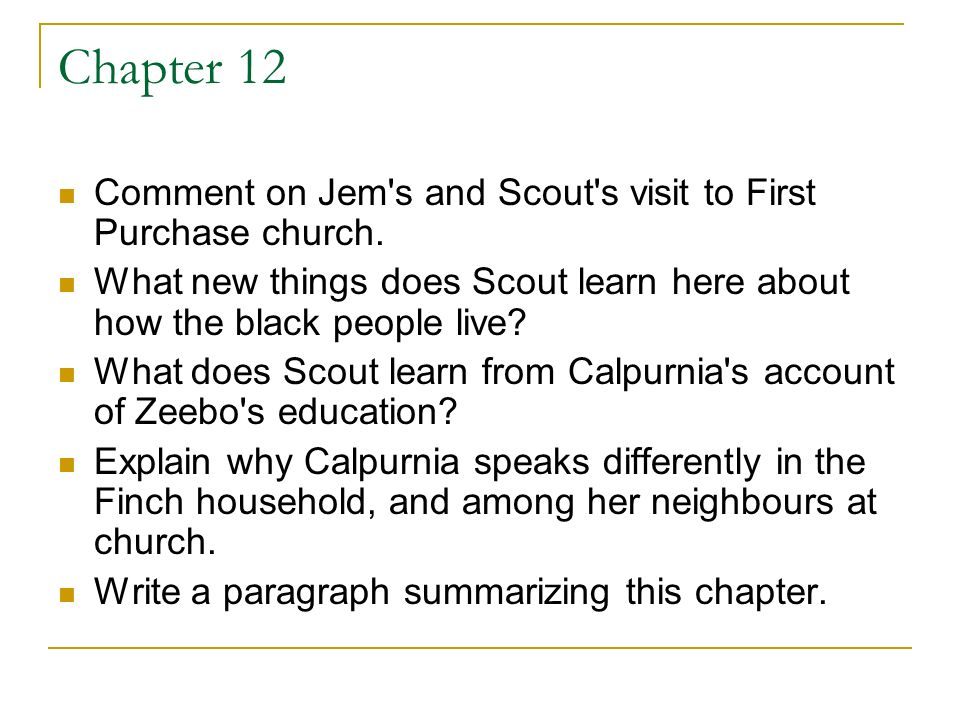 what do jem and scout learn What did jem do when mrs dubose said atticus lawed for niggers what was jem's punishment what did jem learn from his encounter with mrs dubose and.