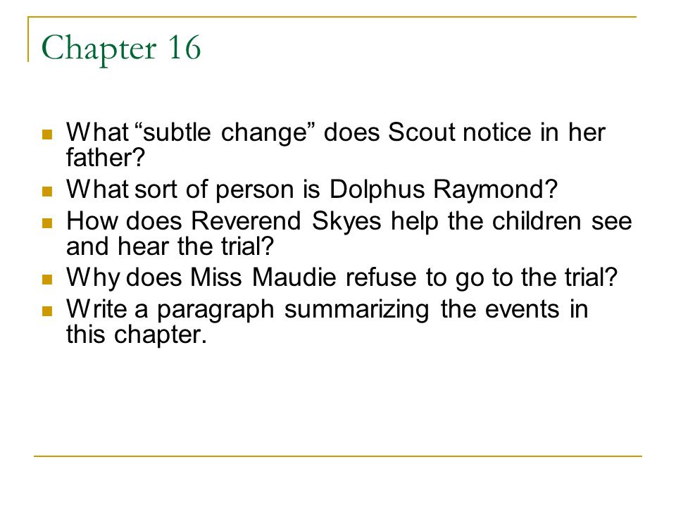 an introduction to the life of dolphus raymond Transcript of to kill a mockingbird- chapter 18-20 mr dolphus raymond is not what the way that he hides the identity of his bottle is just like his life.
