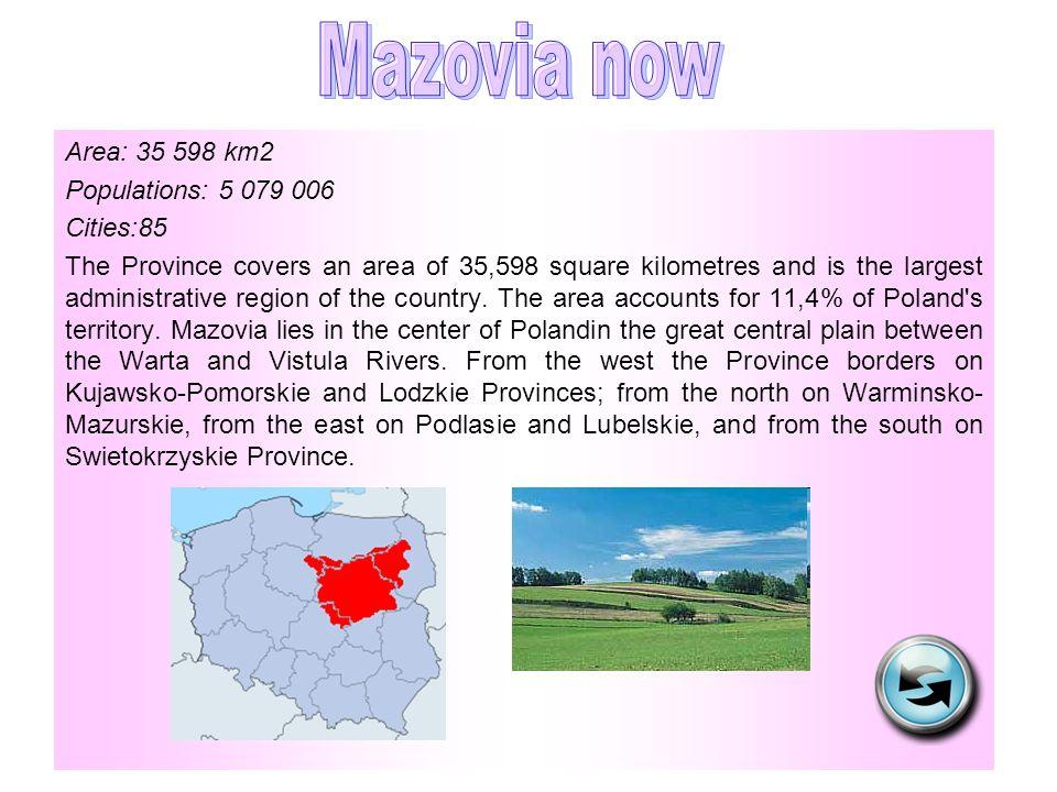 Mazovia now Area: 35 598 km2 Populations: 5 079 006 Cities:85