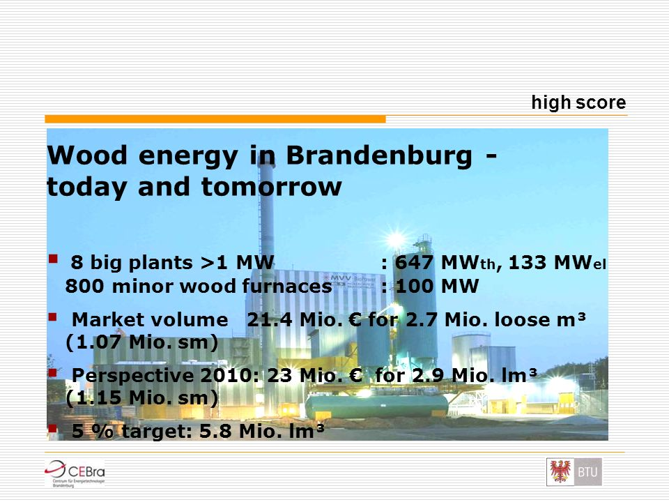 Wood energy in Brandenburg - today and tomorrow