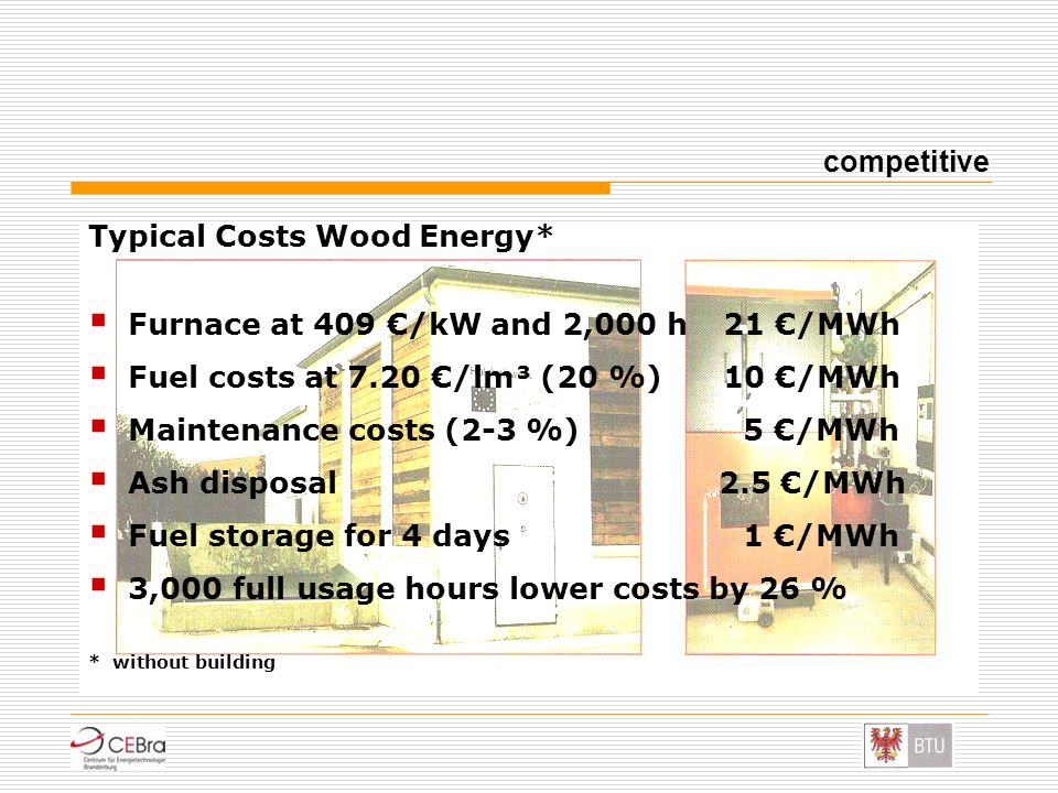 Typical Costs Wood Energy* Furnace at 409 €/kW and 2,000 h 21 €/MWh